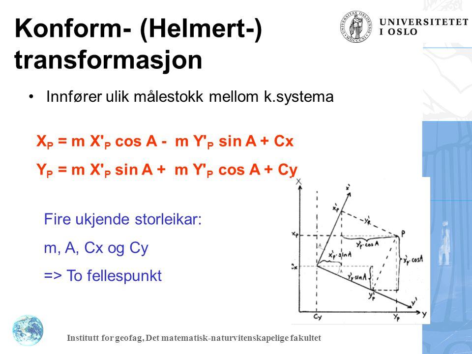 Institutt for geofag, Det matematisk-naturvitenskapelige fakultet Transformasjon - Affin