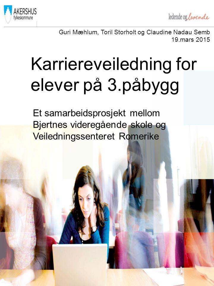 Karriereveiledning for elever på 3.påbygg Et samarbeidsprosjekt mellom Bjertnes videregående skole og Veiledningssenteret Romerike Guri Mæhlum, Toril Storholt og Claudine Nadau Semb 19.mars 2015