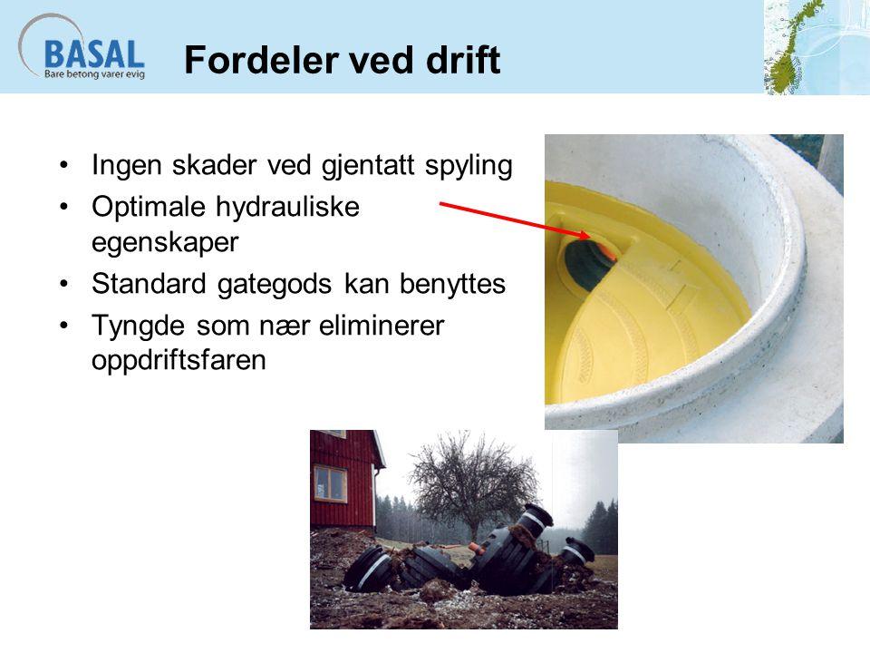 Fordeler ved drift Ingen skader ved gjentatt spyling Optimale hydrauliske egenskaper Standard gategods kan benyttes Tyngde som nær eliminerer oppdrift