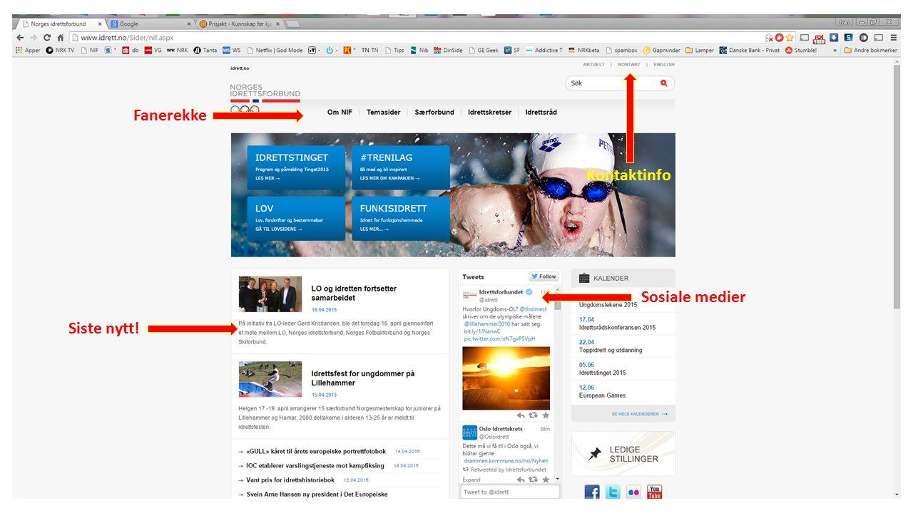 Fanerekke Sosiale medier Siste nytt! Kontaktinfo