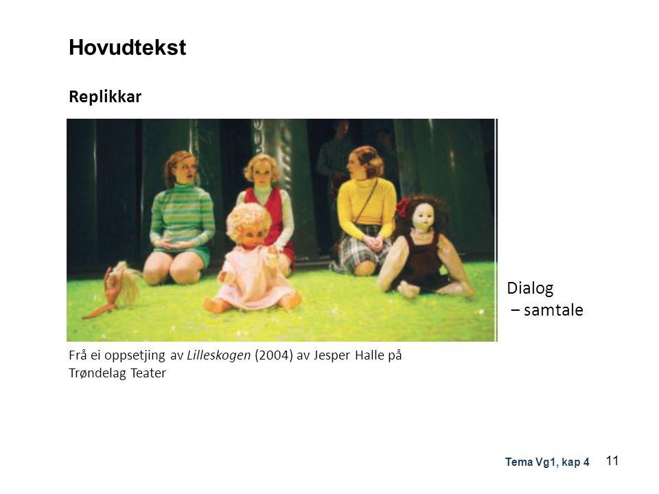 Hovudtekst Replikkar Dialog ‒ samtale Frå ei oppsetjing av Lilleskogen (2004) av Jesper Halle på Trøndelag Teater 11 Tema Vg1, kap 4