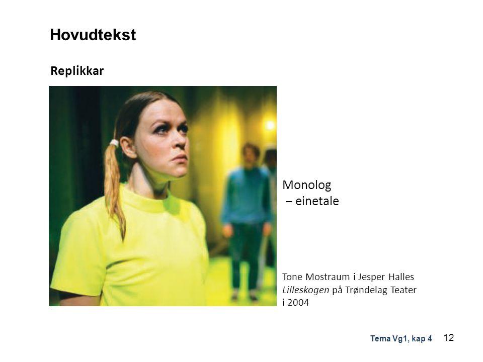 Hovudtekst Replikkar Monolog ‒ einetale Tone Mostraum i Jesper Halles Lilleskogen på Trøndelag Teater i 2004 12 Tema Vg1, kap 4