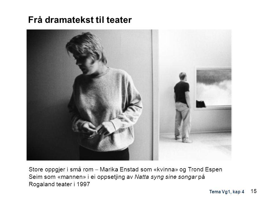 Frå dramatekst til teater Store oppgjer i små rom – Marika Enstad som «kvinna» og Trond Espen Seim som «mannen» i ei oppsetjing av Natta syng sine son