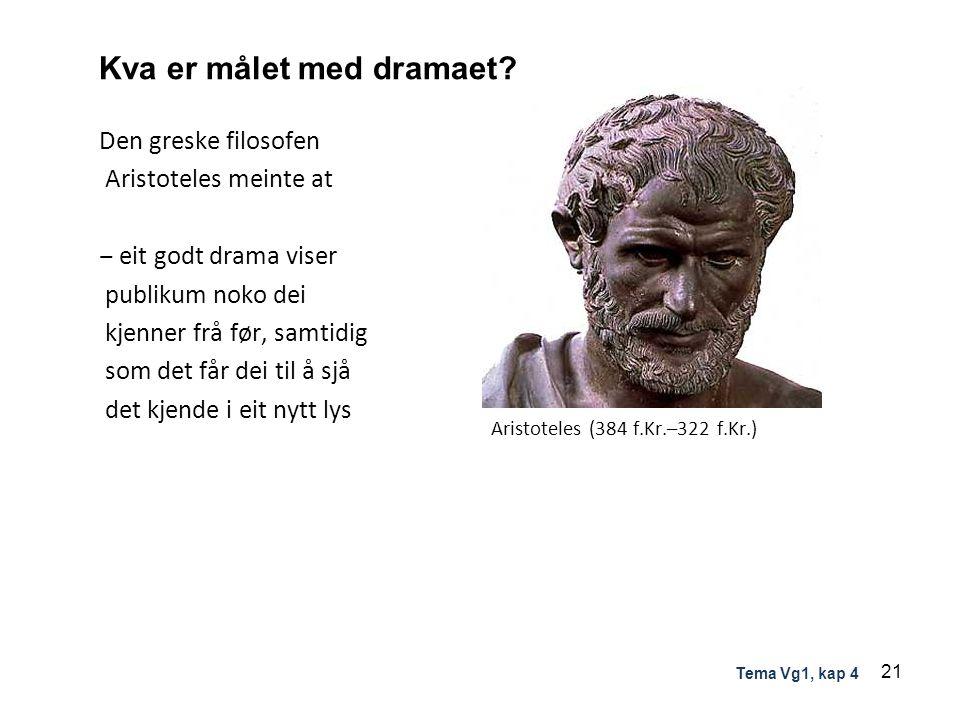 Kva er målet med dramaet? Den greske filosofen Aristoteles meinte at ‒ eit godt drama viser publikum noko dei kjenner frå før, samtidig som det får de