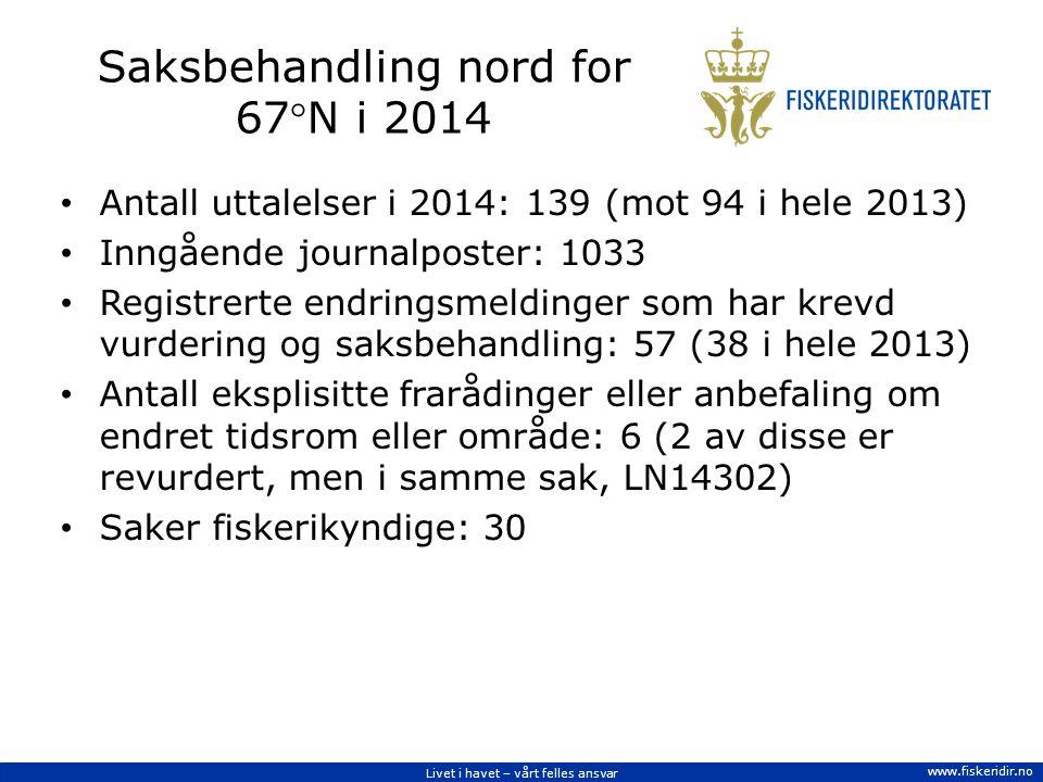 Livet i havet – vårt felles ansvar www.fiskeridir.no Saksbehandling nord for 67N i 2014 Antall uttalelser i 2014: 139 (mot 94 i hele 2013) Inngående