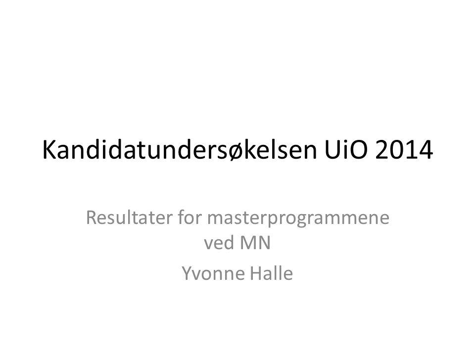 Kandidatundersøkelsen UiO 2014 Resultater for masterprogrammene ved MN Yvonne Halle