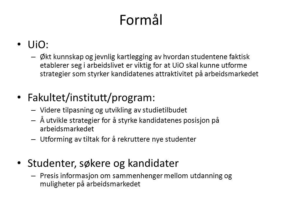 Formål UiO: – Økt kunnskap og jevnlig kartlegging av hvordan studentene faktisk etablerer seg i arbeidslivet er viktig for at UiO skal kunne utforme s