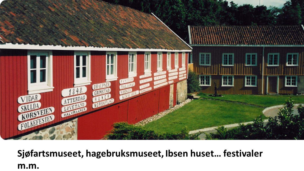Sjøfartsmuseet, hagebruksmuseet, Ibsen huset… festivaler m.m.
