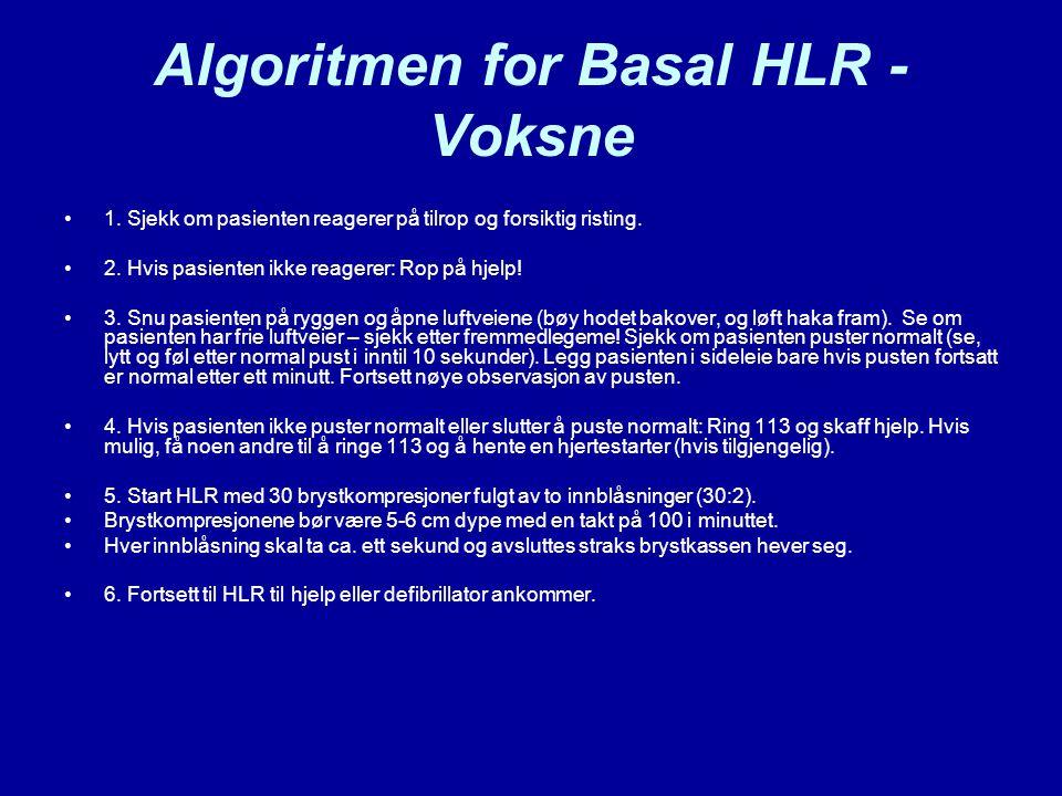 Algoritmen for Basal HLR - Voksne 1. Sjekk om pasienten reagerer på tilrop og forsiktig risting. 2. Hvis pasienten ikke reagerer: Rop på hjelp! 3. Snu