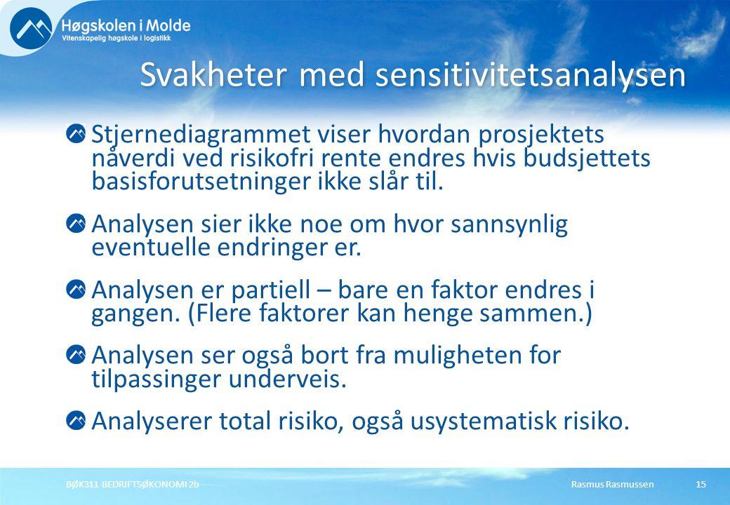 Rasmus RasmussenBØK311 BEDRIFTSØKONOMI 2b15 Stjernediagrammet viser hvordan prosjektets nåverdi ved risikofri rente endres hvis budsjettets basisforut