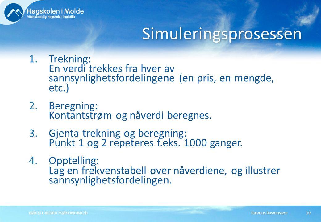 Rasmus RasmussenBØK311 BEDRIFTSØKONOMI 2b19 1.Trekning: En verdi trekkes fra hver av sannsynlighetsfordelingene (en pris, en mengde, etc.) 2.Beregning