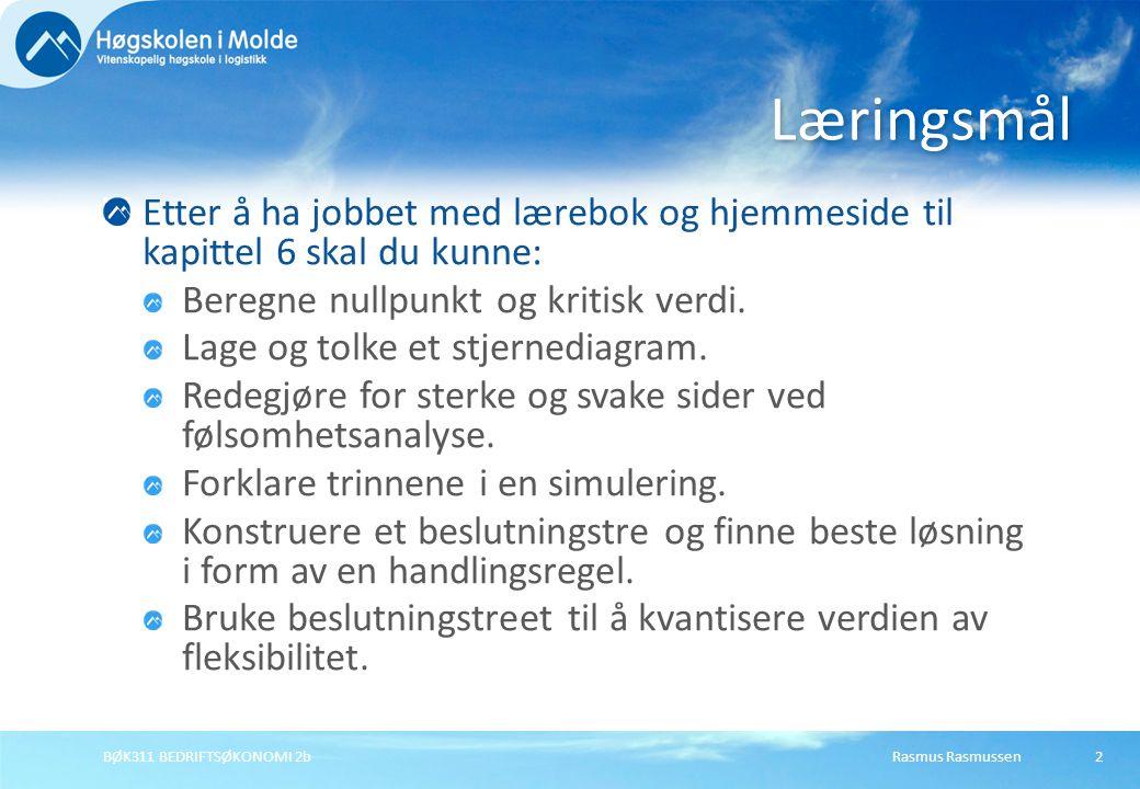 Rasmus RasmussenBØK311 BEDRIFTSØKONOMI 2b2 Etter å ha jobbet med lærebok og hjemmeside til kapittel 6 skal du kunne: Beregne nullpunkt og kritisk verd