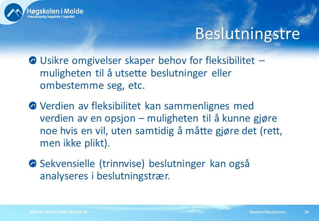 Rasmus RasmussenBØK311 BEDRIFTSØKONOMI 2b24 Usikre omgivelser skaper behov for fleksibilitet – muligheten til å utsette beslutninger eller ombestemme