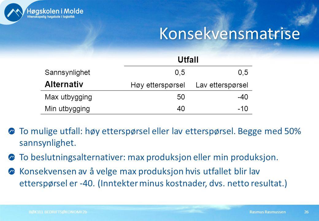 Rasmus RasmussenBØK311 BEDRIFTSØKONOMI 2b26 Utfall Sannsynlighet0,5 Alternativ Høy etterspørselLav etterspørsel Max utbygging50-40 Min utbygging40-10