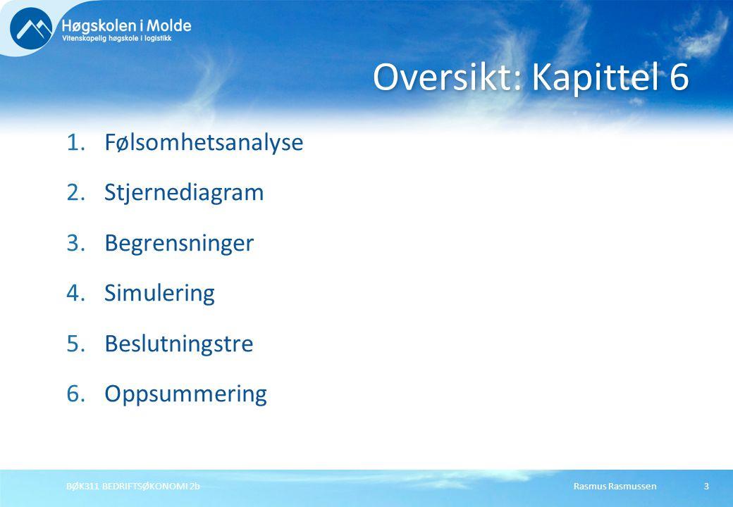 Rasmus RasmussenBØK311 BEDRIFTSØKONOMI 2b3 1.Følsomhetsanalyse 2.Stjernediagram 3.Begrensninger 4.Simulering 5.Beslutningstre 6.Oppsummering Oversikt: