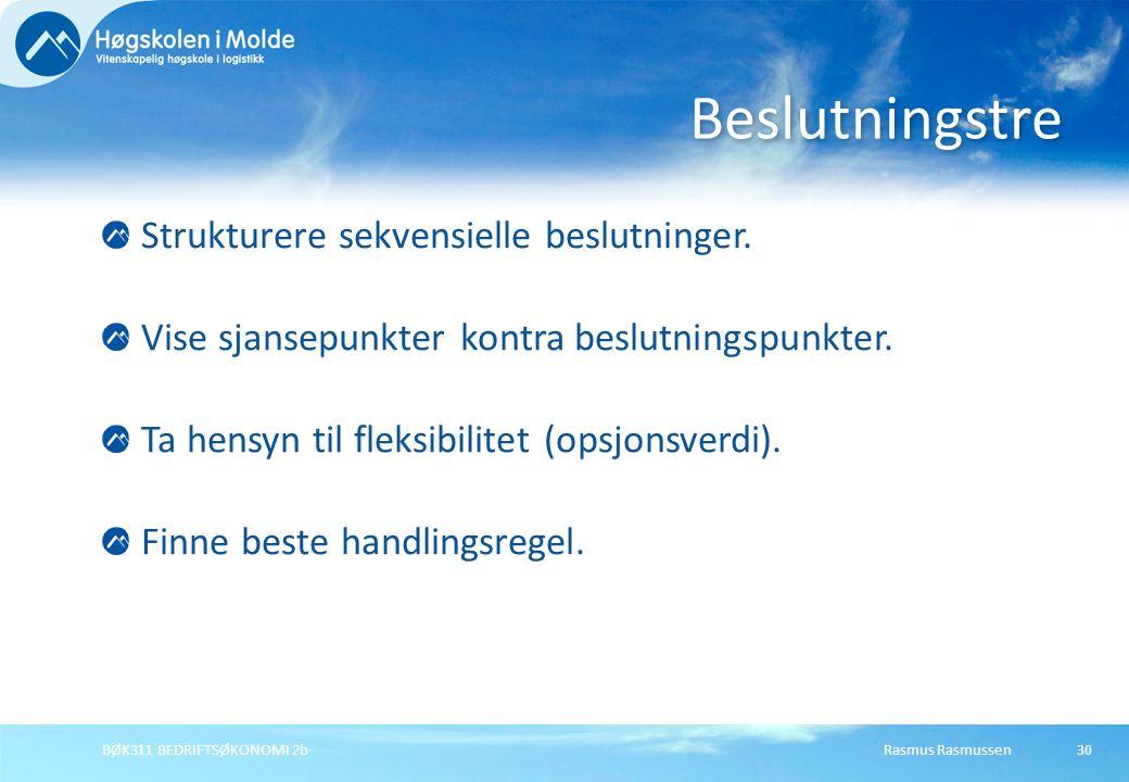 Rasmus RasmussenBØK311 BEDRIFTSØKONOMI 2b30 Strukturere sekvensielle beslutninger. Vise sjansepunkter kontra beslutningspunkter. Ta hensyn til fleksib