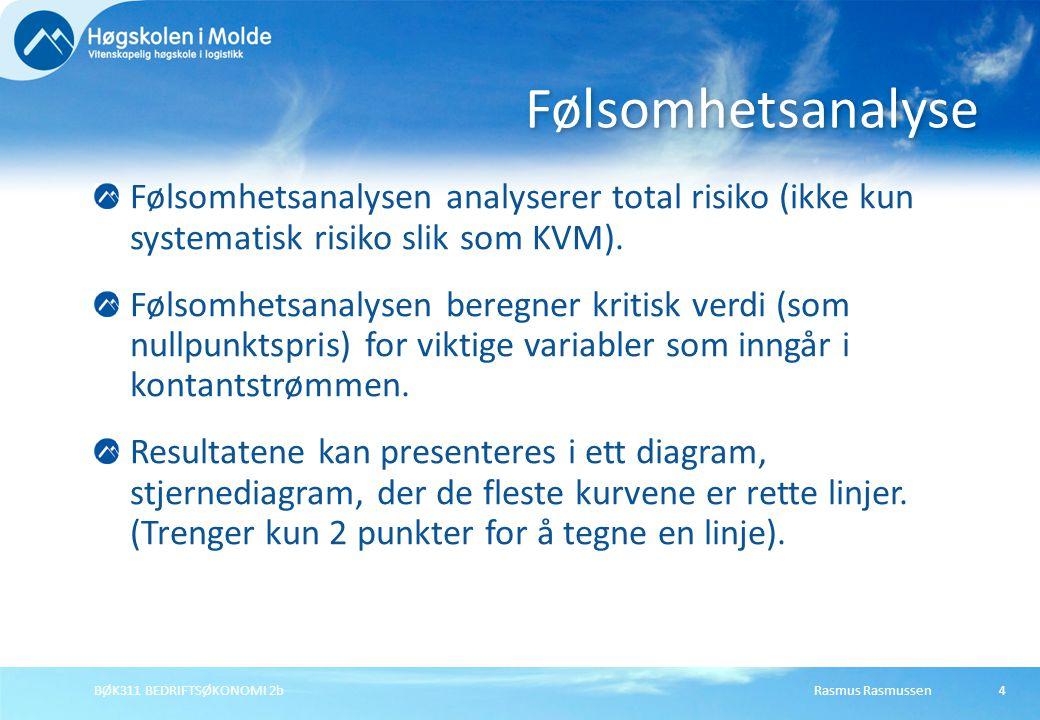 Rasmus RasmussenBØK311 BEDRIFTSØKONOMI 2b4 Følsomhetsanalysen analyserer total risiko (ikke kun systematisk risiko slik som KVM). Følsomhetsanalysen b