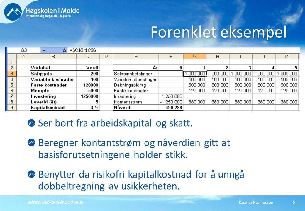 Rasmus RasmussenBØK311 BEDRIFTSØKONOMI 2b5 Ser bort fra arbeidskapital og skatt. Beregner kontantstrøm og nåverdien gitt at basisforutsetningene holde