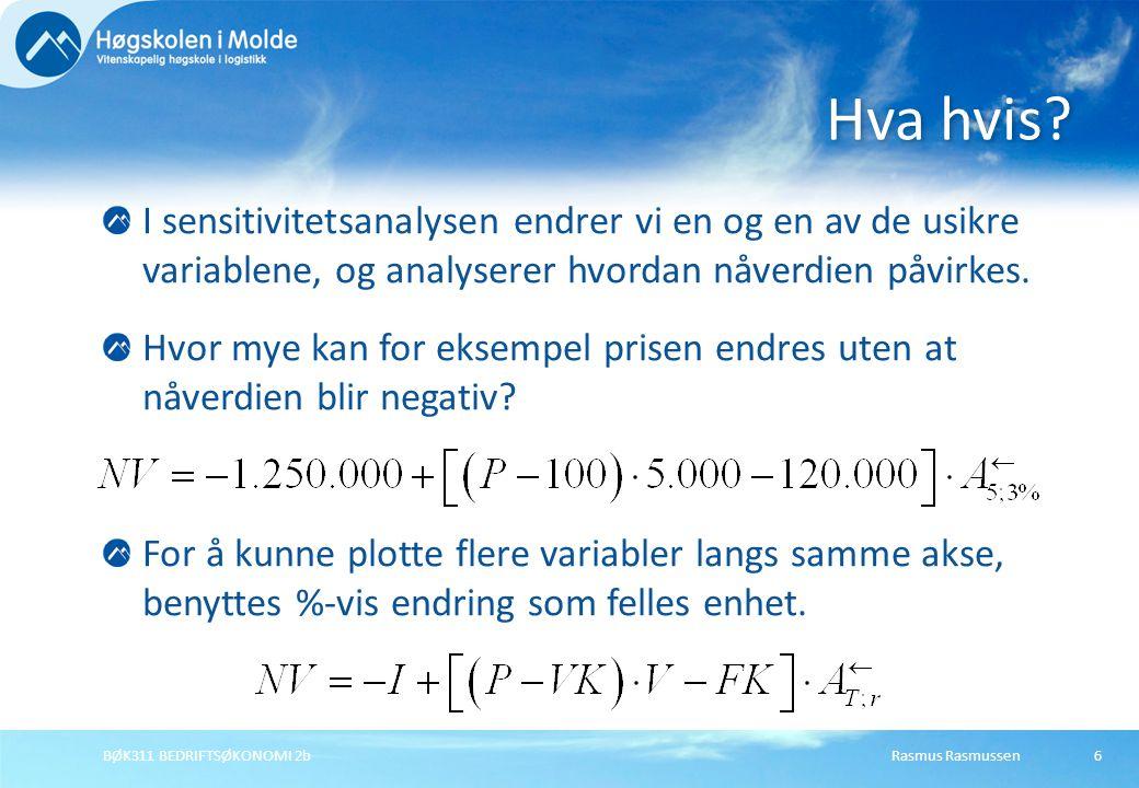 Rasmus RasmussenBØK311 BEDRIFTSØKONOMI 2b6 I sensitivitetsanalysen endrer vi en og en av de usikre variablene, og analyserer hvordan nåverdien påvirke