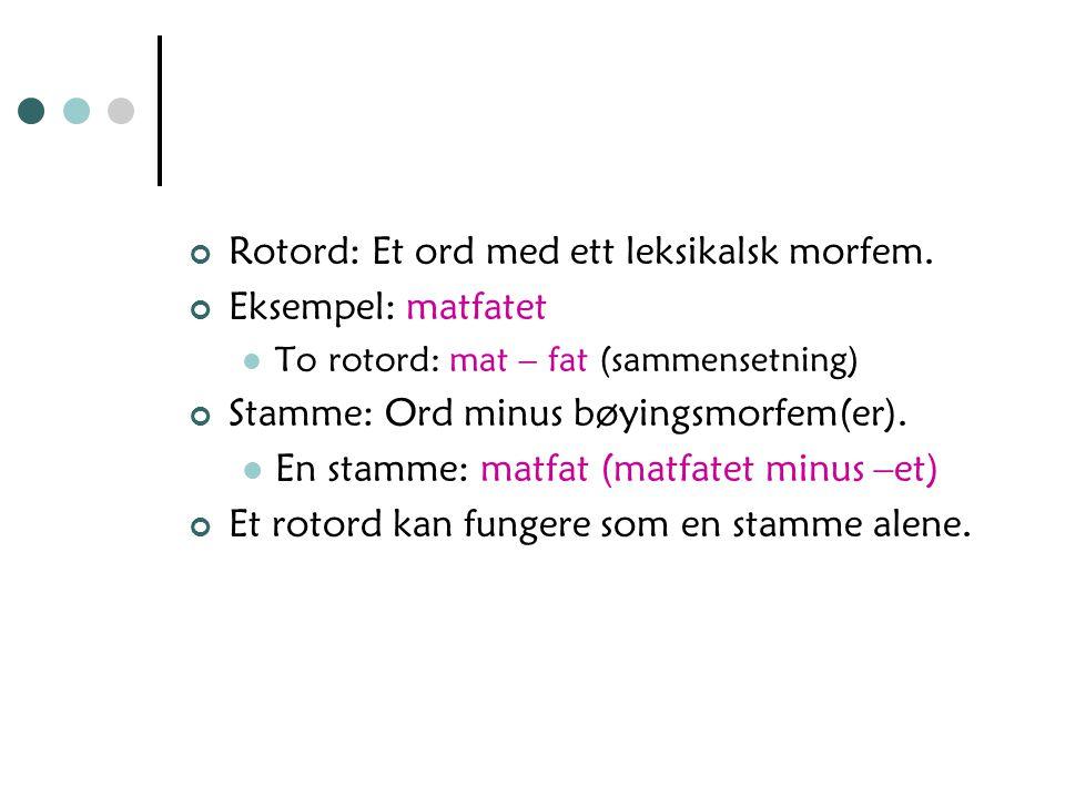 Frie og bundne morfemer (basert på om morfemet kan danne ord alene eller ei) Frie morfemer: kan danne ord alene. Gjelder de fleste leksikalske morfeme