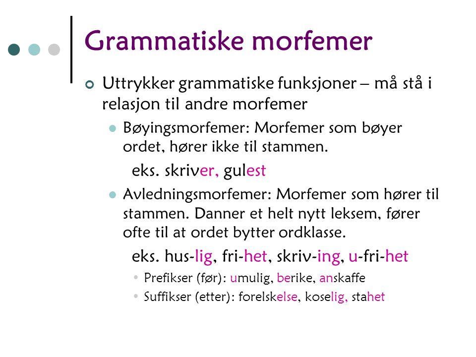 Grammatiske morfemer Uttrykker grammatiske funksjoner – må stå i relasjon til andre morfemer Bøyingsmorfemer: Morfemer som bøyer ordet, hører ikke til stammen.