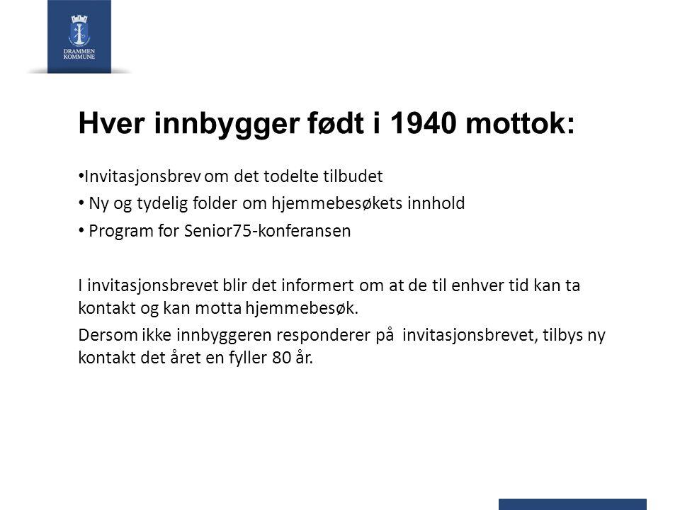 Hver innbygger født i 1940 mottok: Invitasjonsbrev om det todelte tilbudet Ny og tydelig folder om hjemmebesøkets innhold Program for Senior75-konfera