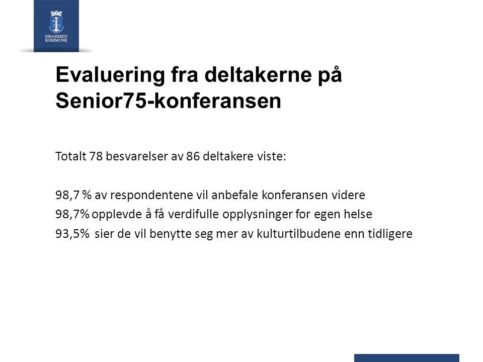 Evaluering fra deltakerne på Senior75-konferansen Totalt 78 besvarelser av 86 deltakere viste: 98,7 % av respondentene vil anbefale konferansen videre