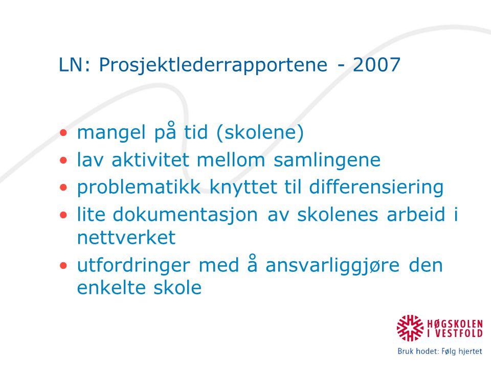 LN: Prosjektlederrapportene - 2007 mangel på tid (skolene) lav aktivitet mellom samlingene problematikk knyttet til differensiering lite dokumentasjon av skolenes arbeid i nettverket utfordringer med å ansvarliggjøre den enkelte skole