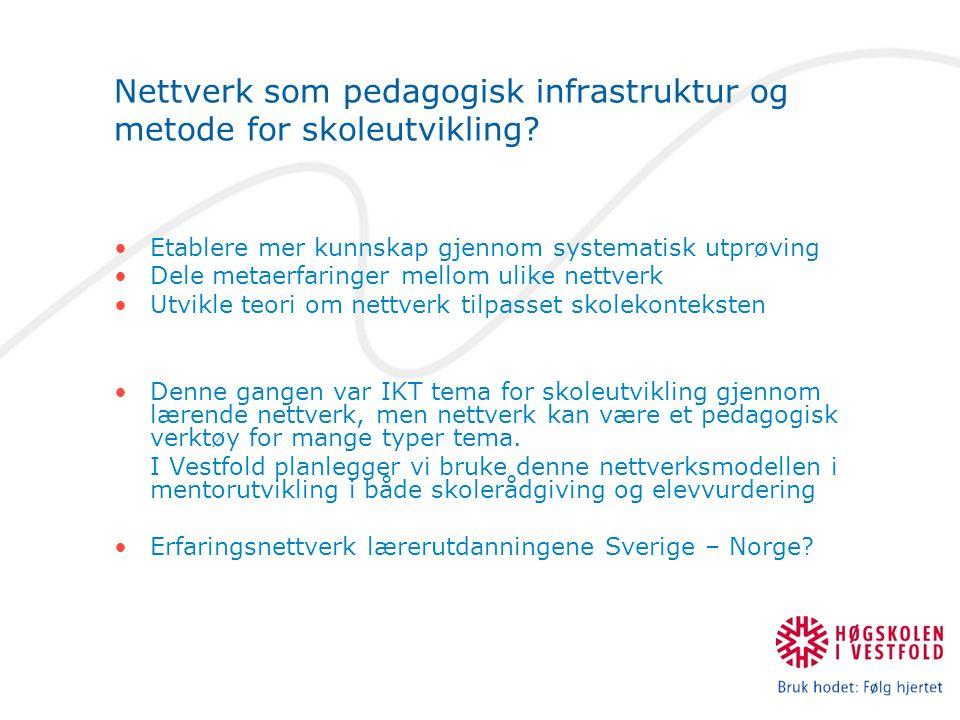 Nettverk som pedagogisk infrastruktur og metode for skoleutvikling.