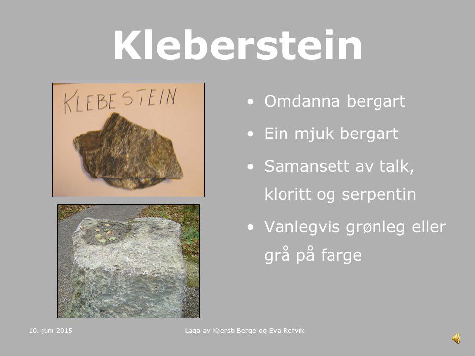 10. juni 2015 Laga av Kjersti Berge og Eva Refvik Marmor Omdanna bergart Består hovudsakleg av karbonatmineral, vanlegvis kalsitt og kalkspat Er lett