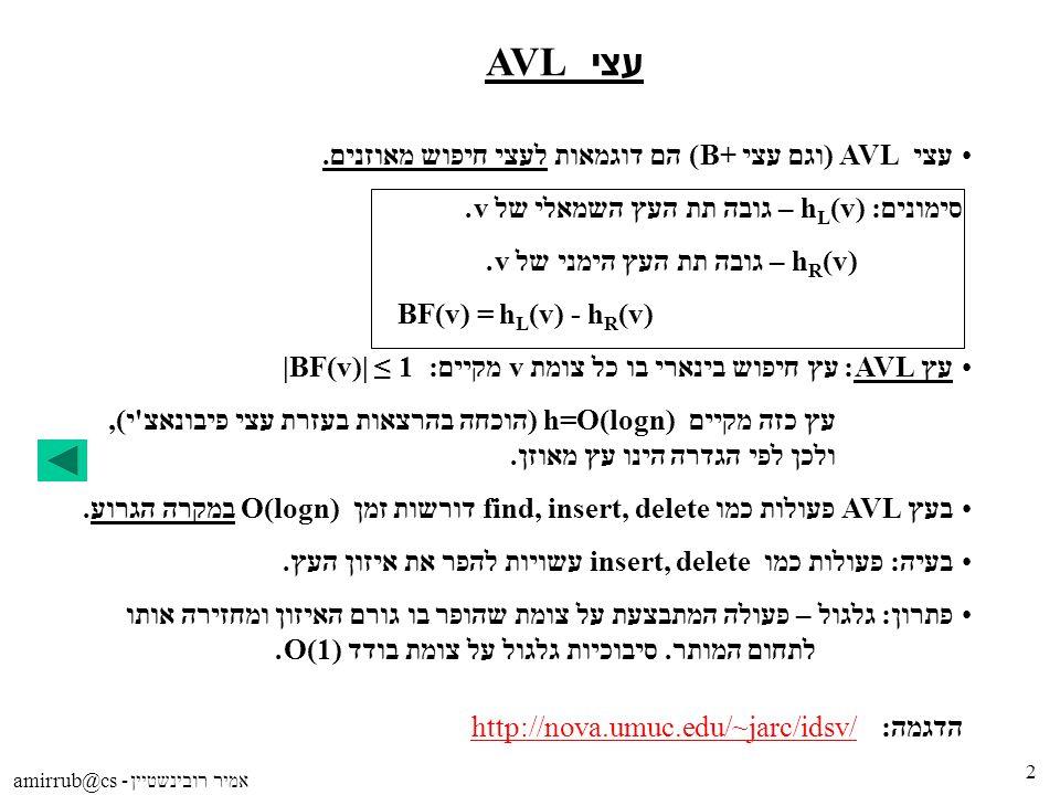 amirrub@cs - אמיר רובינשטיין 2 עצי AVL עצי AVL (וגם עצי B+) הם דוגמאות לעצי חיפוש מאוזנים. סימונים: h L (v) – גובה תת העץ השמאלי של v. h R (v) – גובה