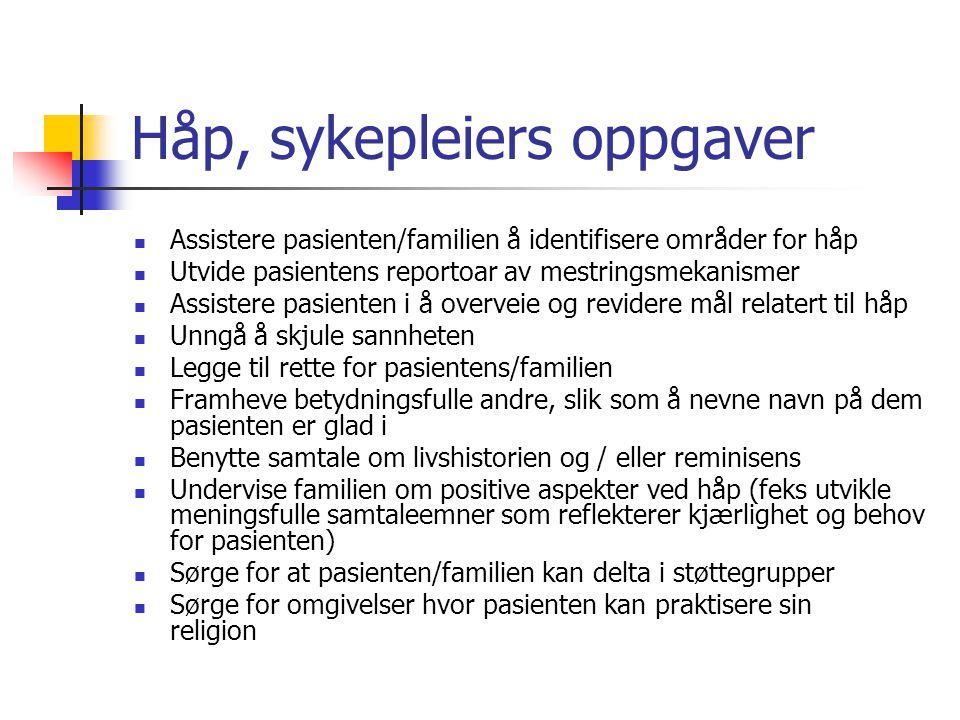 Håp, sykepleiers oppgaver Assistere pasienten/familien å identifisere områder for håp Utvide pasientens reportoar av mestringsmekanismer Assistere pas