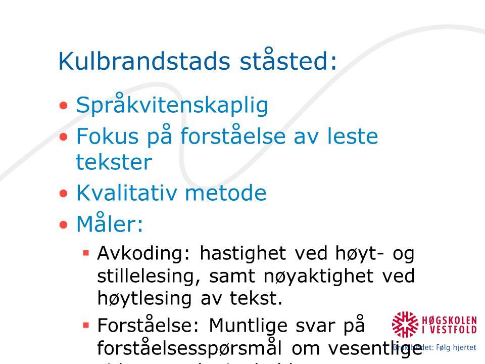 Kulbrandstads ståsted: Språkvitenskaplig Fokus på forståelse av leste tekster Kvalitativ metode Måler:  Avkoding: hastighet ved høyt- og stillelesing