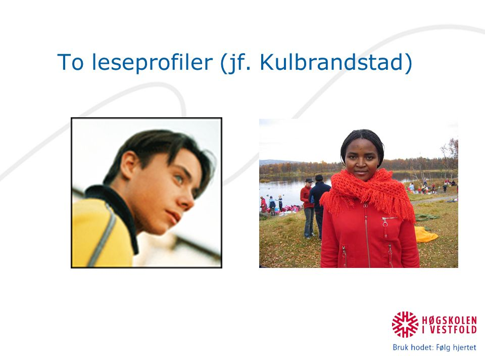 To leseprofiler (jf. Kulbrandstad)