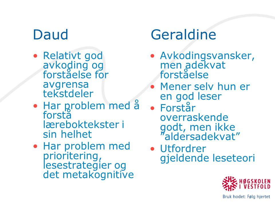 Daud Geraldine Relativt god avkoding og forståelse for avgrensa tekstdeler Har problem med å forstå læreboktekster i sin helhet Har problem med priori