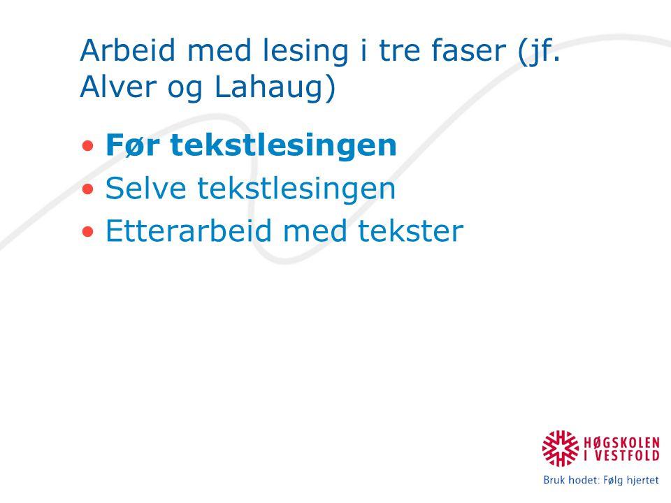 Arbeid med lesing i tre faser (jf. Alver og Lahaug) Før tekstlesingen Selve tekstlesingen Etterarbeid med tekster