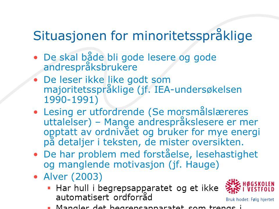 Situasjonen for minoritetsspråklige De skal både bli gode lesere og gode andrespråksbrukere De leser ikke like godt som majoritetsspråklige (jf. IEA-u