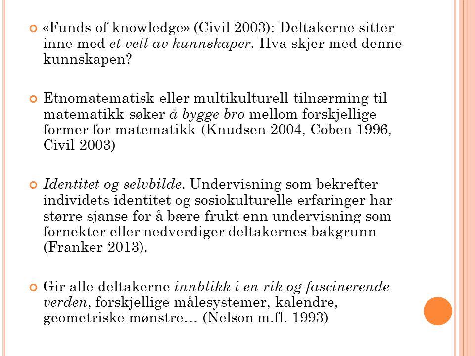 «Funds of knowledge» (Civil 2003): Deltakerne sitter inne med et vell av kunnskaper.
