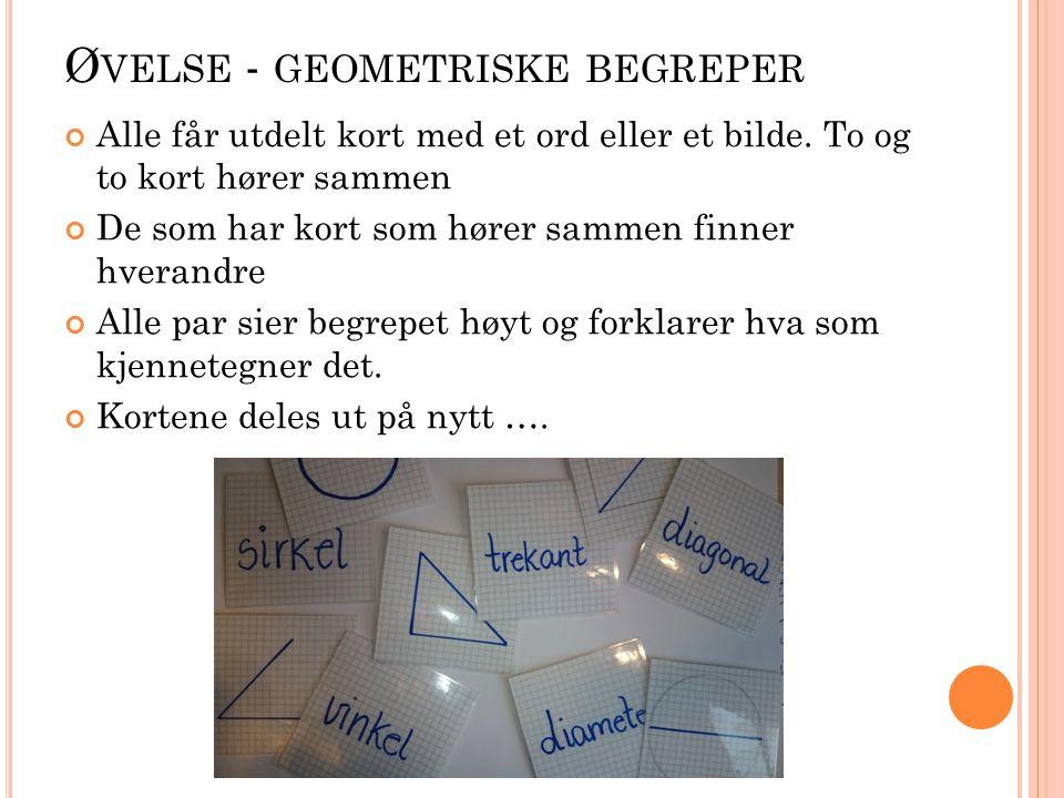 Ø VELSE - GEOMETRISKE BEGREPER Alle får utdelt kort med et ord eller et bilde.