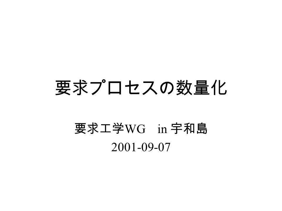 要求プロセスの数量化 要求工学 WG in 宇和島 2001-09-07