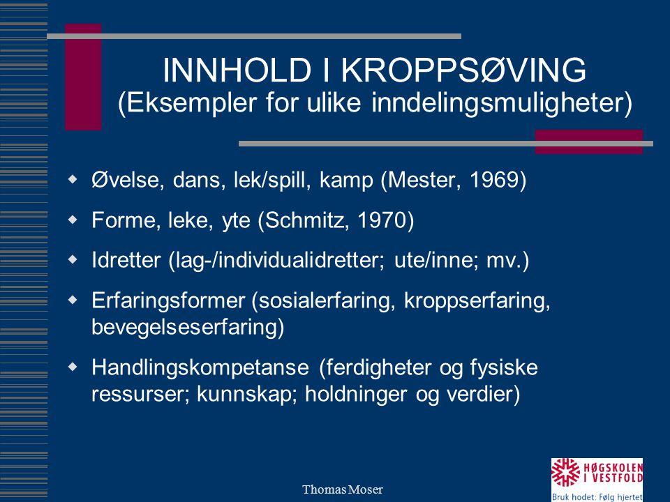 Thomas Moser INNHOLD I KROPPSØVING (Eksempler for ulike inndelingsmuligheter)  Øvelse, dans, lek/spill, kamp (Mester, 1969)  Forme, leke, yte (Schmi