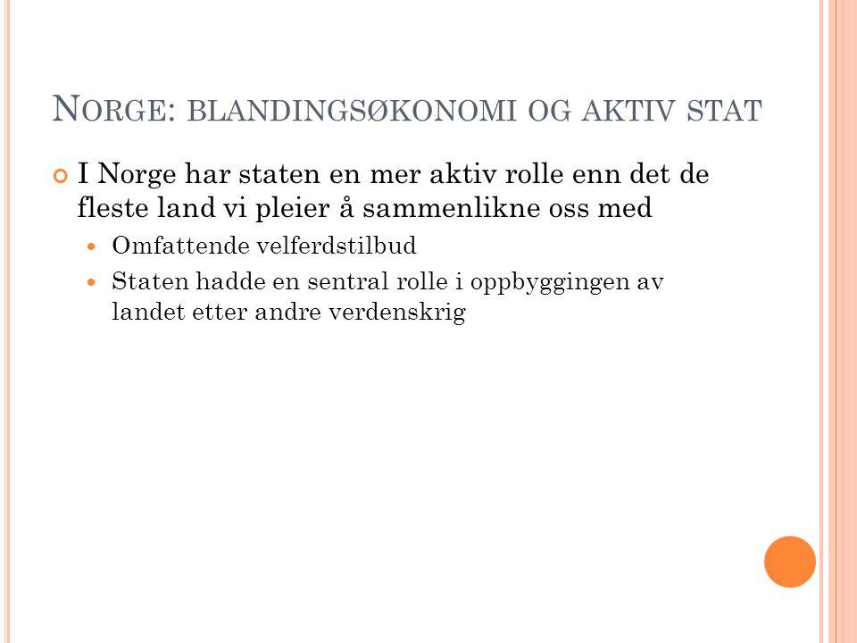 N ORGE : BLANDINGSØKONOMI OG AKTIV STAT I Norge har staten en mer aktiv rolle enn det de fleste land vi pleier å sammenlikne oss med Omfattende velferdstilbud Staten hadde en sentral rolle i oppbyggingen av landet etter andre verdenskrig