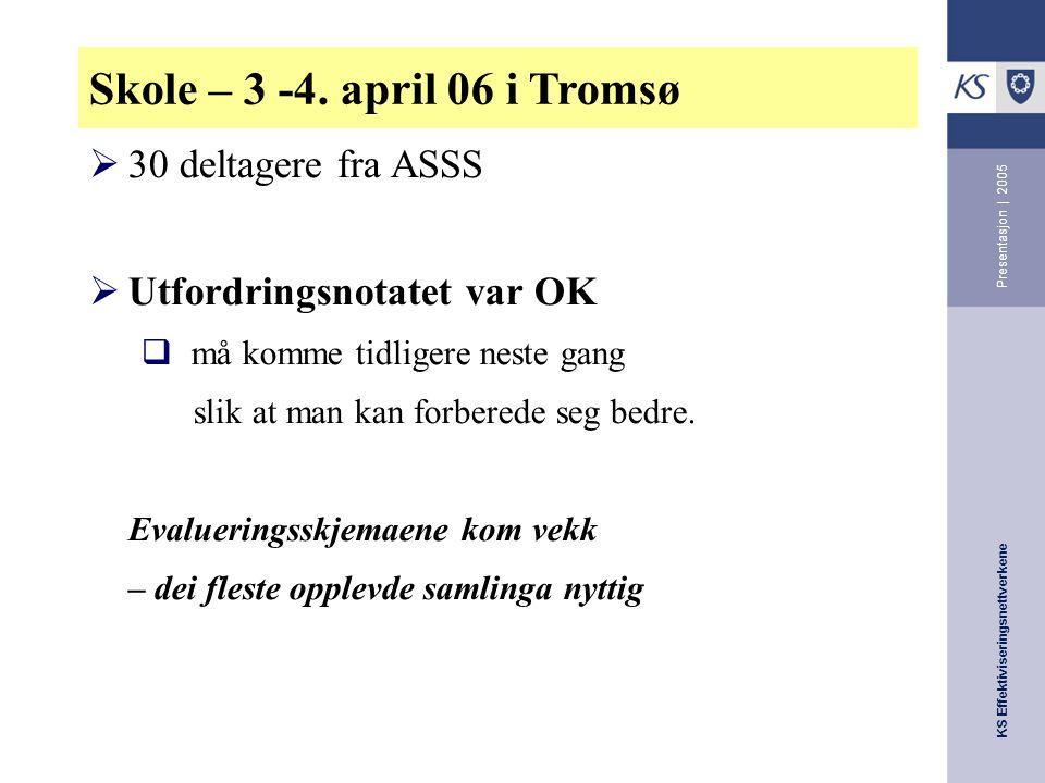 KS Effektiviseringsnettverkene Presentasjon | 2005 Skole – 3 -4.