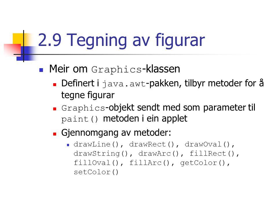2.9 Tegning av figurar Meir om Graphics -klassen Definert i java.awt -pakken, tilbyr metoder for å tegne figurar Graphics -objekt sendt med som parame