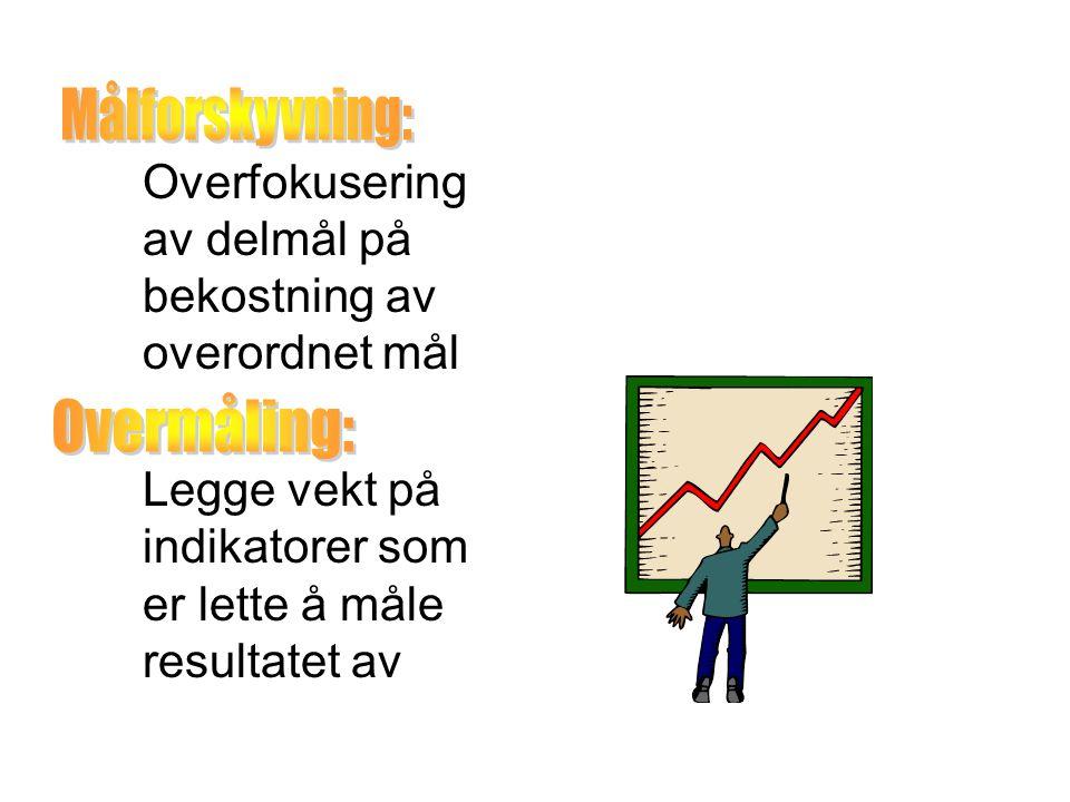 Overfokusering av delmål på bekostning av overordnet mål Legge vekt på indikatorer som er lette å måle resultatet av