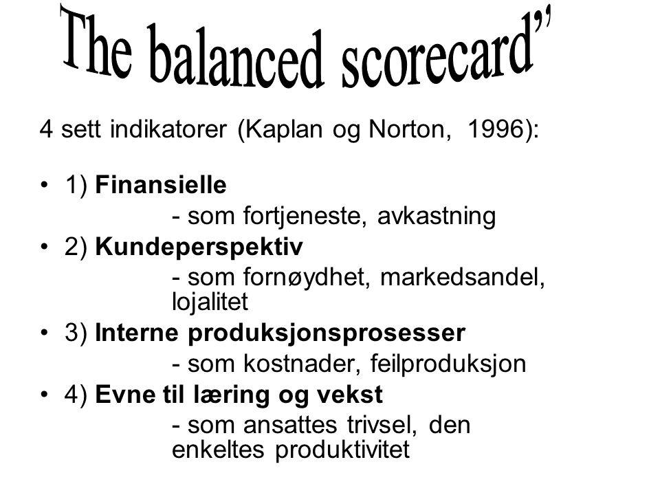 4 sett indikatorer (Kaplan og Norton, 1996): 1) Finansielle - som fortjeneste, avkastning 2) Kundeperspektiv - som fornøydhet, markedsandel, lojalitet