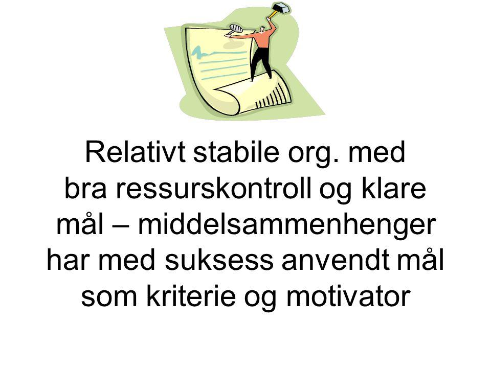 Relativt stabile org. med bra ressurskontroll og klare mål – middelsammenhenger har med suksess anvendt mål som kriterie og motivator