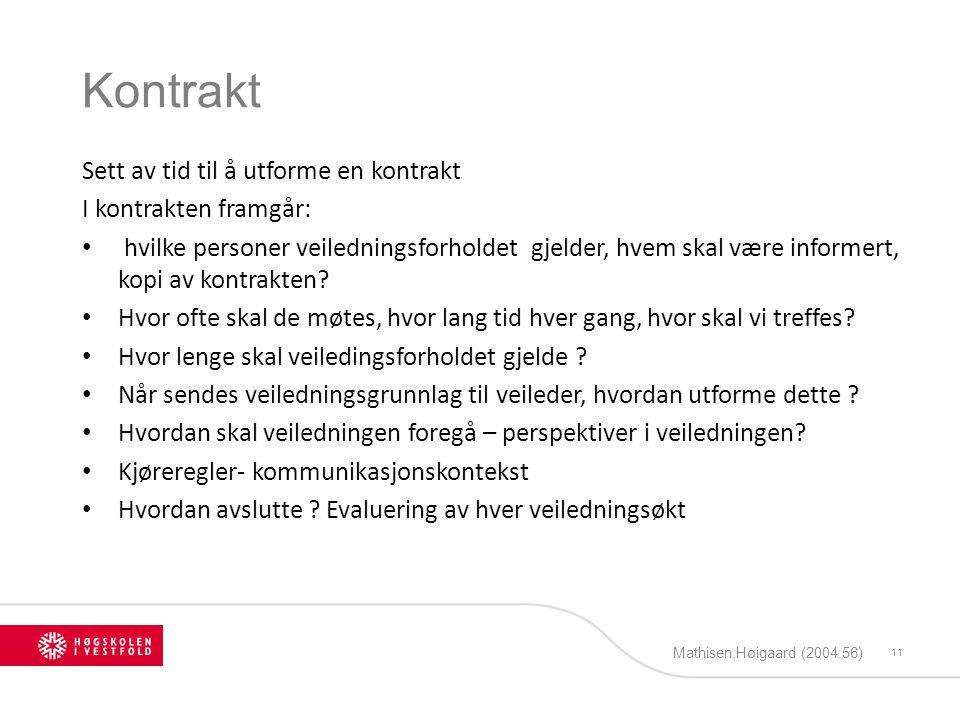 Kontrakt Sett av tid til å utforme en kontrakt I kontrakten framgår: hvilke personer veiledningsforholdet gjelder, hvem skal være informert, kopi av k