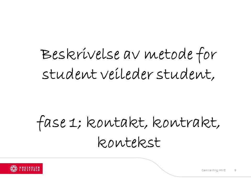 Beskrivelse av metode for student veileder student, fase 1; kontakt, kontrakt, kontekst Camilla Wiig, HIVE9