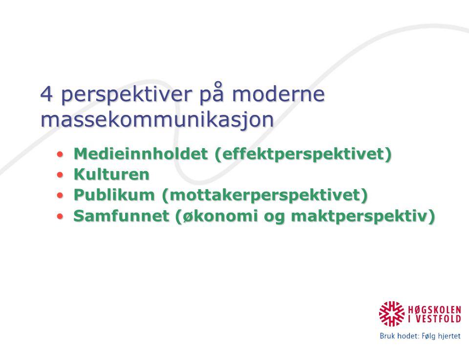 4 perspektiver på moderne massekommunikasjon Medieinnholdet (effektperspektivet)Medieinnholdet (effektperspektivet) KulturenKulturen Publikum (mottake